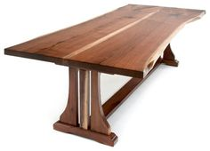 A black walnut live edge table with trestle base dining table in custom made sizes. Refined rustic dining table made with solid wood. Natural Wood Dining Table, Natural Wood Furniture, Live Edge Furniture, Outdoor Dining Furniture, Wooden Dining Tables, Dining Room Table, Wood Table, Rustic Furniture, Furniture Ideas