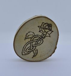 Wooden celtic coaster with a rose. For mug by ArchdeansMagicShop