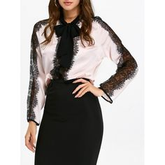 16.13$  Buy here - http://dibsk.justgood.pw/go.php?t=203783203 - Lace Panel See Through Pussy Bow Shirt