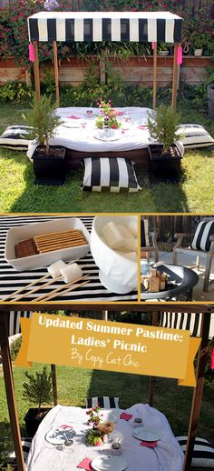 Transform a covered sandbox into a table for a lovely ladies' lunch! Complete the makeover by painting cabana stripes on the sandbox's canopy. Outdoor pillows serve as cushions. #DIY
