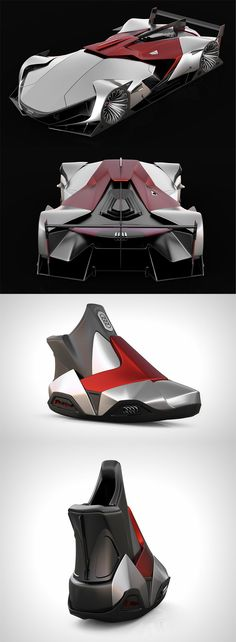 The 'Audi Future Le Mans Vision' didn't stop at being a conceptual car, it also spilled over into shoe design, the designer carried the car's form language into  the shoes to make something that looks like it came out of Tony Stark's wardrobe... READ MORE at Yanko Design !
