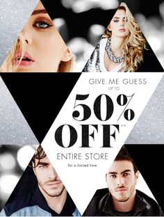 Guess: This Year, Give Me GUESS. It's All Up to 50% Off | Milled Leaflet Design, Ad Design, Layout Design, Cover Design, Fashion Marketing, Mail Marketing, Fashion Banner, Newsletter Design, Social Media Design