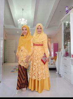 Yellow lace Dress Brukat, Hijab Dress Party, Batik Dress, Kebaya Muslim, Muslim Dress, Batik Fashion, Abaya Fashion, Muslim Fashion, Kebaya Modern Dress