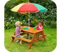 PLUM® CHILDREN'S RECTANGULAR GARDEN PICNIC TABLE WITH PARASOL