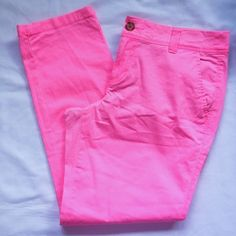 ✨JUST LISTED: Neon Pink Cropped Pants 2 big & 1 small front pockets, 2 back pockets with tortoise shell button closure • has belt loops • Reasonable offers are welcomed! Pants Capris