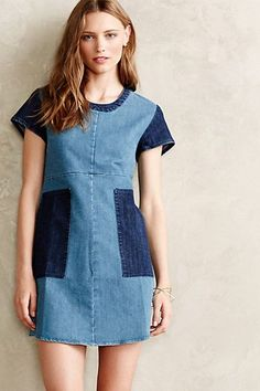patchwork denim (extra off the sale price! Patchwork Denim, Patchwork Dress, Patched Denim, Anthropologie Clothing, Diy Clothes, Clothes For Women, Diy Jeans, Denim Ideas, Recycled Denim
