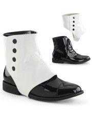 Black and White Detachable Spats Mens Shoes