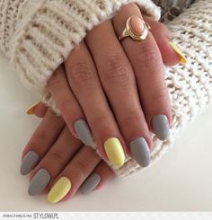 Cute Nail Arts Cute Fun Nails Pretty Nails Nails Tendece Nail Em Paint Nails Manicure Yellow Touch Yellow And Grey Nails Stylish Nails, Trendy Nails, Cute Nail Art, Cute Nails, Grey Nail Designs, Art Designs, Yellow Nail Art, Yellow Nails Design, Gray Nails