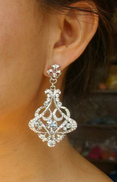 Crystal Bridal Chandelier Earrings, Rhinestone Chandelier Wedding Earrings, Vintage Wedding Jewelry, Statement Bridal Jewelry, CRESSIDA. $82.00, via Etsy.
