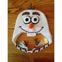Touca Crochê Boneco De Neve Olaf - Fozen - Todos Os Tamanhos