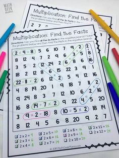 FREE Multiplication Equation Search: Not Your Typical Worksheet! - Math in the Classroom - {FREE} Equation Search: Fun Multiplication Games for Grade - Free Math Worksheets, Math Resources, Math Activities, Fun Multiplication Games, Fun Math, Math Fractions, Third Grade Math, Sixth Grade, 3rd Grade Art
