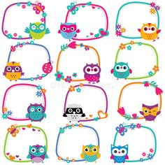 Cute Owl Frames Clip Art Set Stock Vector - Illustration of childlike, character: 51606519 Vogel Silhouette, Owl Theme Classroom, Owl Clip Art, School Frame, School Labels, Frame Clipart, Borders And Frames, Cute Owl, Planner Stickers