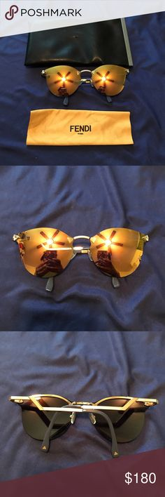 Fends Aviators with Swarovski Crystals Fends Aviators with Swarovski Crystals. Worn once. Yellow polarized lenses.   Sunglasses come with care and lens cloth cleaner. Super funky glasses. Fendi Accessories Sunglasses