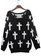 Black Round Neck and White Cross Pattern Jumper Sweater $69