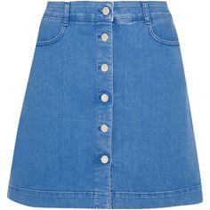 Stella McCartney Stretch-denim mini skirt (5.995 ARS) ❤ liked on Polyvore featuring skirts, mini skirts, bottoms, stella mccartney, blue, blue a line skirt, a line mini skirt, short flared skirts and mini skirt