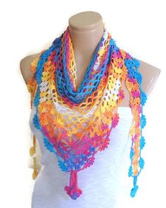 Items similar to Crocheted Multi Color Lace Scarf ,Holiday Accessories, fashion, Mothers day, scarves on Etsy Crochet Blouse, Crochet Scarves, Crochet Shawl, Handmade Gifts For Her, Unique Gifts, Gia Carangi, Moda Emo, Shorty, Lace Scarf