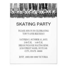 Roller Skate Birthday Invitations Skating Party Invitations