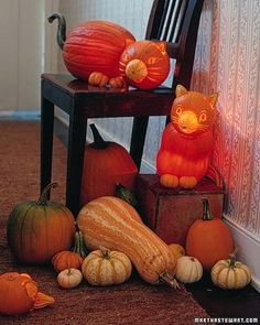 Loved these pumpkin kitties (and little mouse) courtesy Martha Stewart Living
