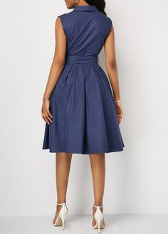 Sleeveless Solid Color Lapel Tie A-Line Dress – RosaMiss Casual Summer Dresses, Modest Dresses, Casual Dresses For Women, Dress Casual, Belted Dress, Dot Dress, Robes D'occasion, Plus Size Party Dresses, Latest African Fashion Dresses