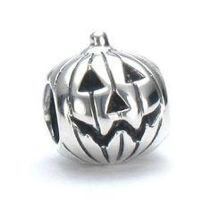 """Jack-O-Lantern"" sterling silver bead for Ohm charm bracelet."