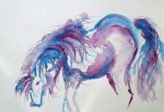 Cerulean BluePurple Horse - pony watercolor - wall art decor - horse art