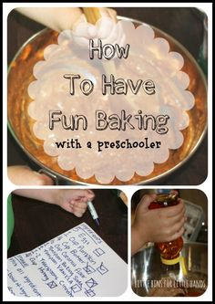 How To Have Fun Baking With A Preschooler *love the enlarged recipe copy with check off boxes to keep little ones engaged