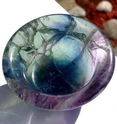 Rainbow Blue Fluorite Attunement Cup Crystal Healing Gemstone Bowl Psychic Ability Spiritual Reiki