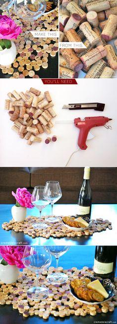 Salvamenteles con tapones de corcho / Via www.cremedelacraft.com