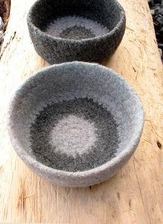 hold handmade - crochet felted nesting bowls