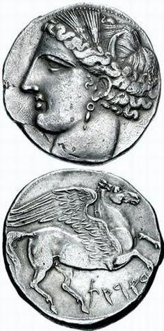 Carthaginian war coinage: the Carthaginian goddess Tanit and the Greek mythological creature Pegasus.
