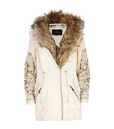 Light pink embellished sleeve parka jacket £150.00