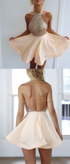 Sexy Backless Halter Homecoming Dresses Short Prom Dresses with Gold Sequins - fashion - kleidung frauen sommer 2019 Semi Dresses, Dresses Short, Hoco Dresses, Beige Dresses, Dresses For Teens, Trendy Dresses, Elegant Dresses, Cute Dresses, Beautiful Dresses