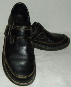 Born Black Leather Slip On Shoes Loafers with Strap Womens Size 7.5 EU 38.5 #Brn #LoafersMoccasins #CasualWork