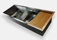 Create Good Ledge Sinks are designed for a cutting board to glide the length of the sink. Other accessories can be used on the ledges such as stainless steel roll mats and colanders. Ledge sinks are extremely functional. #ledgekitchensinks