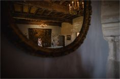 A reflection of the bride in the mirror as she waits for her Chateau de Brametourte wedding by Wild Connections Photography Waiting For Her, French Wedding, Reflection, Destination Wedding, Anna, Wedding Inspiration, Bride, Mirror, Photography