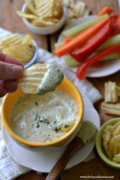 """Vegan """"Cool Ranch"""" Dip - Fork & Beans gotta try this :) Cashew cream with dried herbs. looks awesome! Vegan Sauces, Vegan Foods, Vegan Dishes, Vegan Meals, Vegan Apps, Ranch Dip, Vegan Life, Raw Vegan, Whole Food Recipes"""