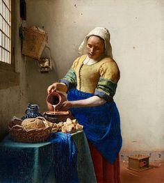 """The Milkmaid"" -- 1660 -- Johannes Vermeer -- Dutch -- Oil on canvas -- Rijksmuseum, Amsterdam, Netherlands."
