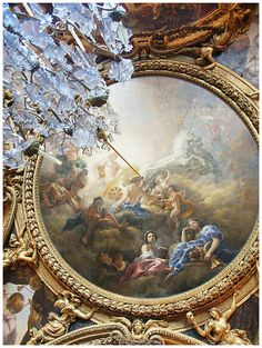 versailles throne room | Throne room ceiling. Palace of Versailles. France.