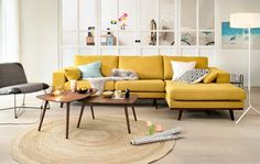 Discover recipes, home ideas, style inspiration and other ideas to try. Sofa Design, Mustard Sofa, Interior Exterior, Interior Design, Modul Sofa, Backyard Pool Designs, Living Room, Furniture, Home Decor