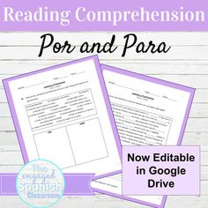 Editable Spanish Por and Para Reading and Activities for Distance Learning High School Spanish, Spanish Teacher, Teaching Spanish, Spanish Grammar, Spanish Activities, Spanish Games, Spanish 1, Spanish Class, Reading Comprehension Activities