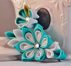Flower Fabric Hairclips- Ocean - Matching Hair Accessories for Mom and daughter- Kanzashi