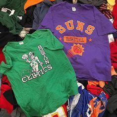"a06fa3c1546 THRIFTY JWEB on Instagram: ""Vintage nba gear🔥🏀 ⚫️suns t shirt size xl $12  ⚫️starter Celtics t shirt size flaws fits size medium $10 📦dm me if ..."