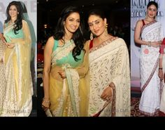 II Sridevi (in sabyasachi) and Kareena Kapoor (in manish malhotra) at the Indian of the Year award ceremony, April 13 Kareena Kapoor Saree, Sabyasachi, Indian Actress Photos, Beautiful Indian Actress, Beautiful Saree, Indian Actresses, Bollywood Saree, Bollywood Fashion, Saree Fashion