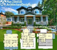 Architectural Designs Craftsman House Plan 23661JD gives you a side-load drive-under garage and over 3,000 square feet of living. Ready when you are. Where do YOU want to build?