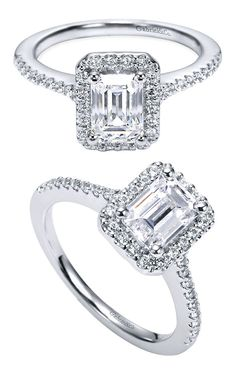 A gorgeous Gabriel & Co. Platinum Halo Engagement Ring with an Emerald Center Stone.