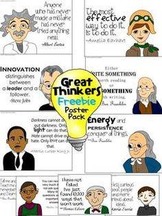 Greetings Teachers!   This Great Thinkers Poster Pack includes 10 posters with quotes from great thinkers: Steve Jobs, Martin Luther King Jr., Amelia Earhart, Ben Franklin, Thomas Edison, Marie Curie, and Albert Einstein.   This freebie is a teaser to my Great Thinkers Classroom Decor Set!  ***************************************************************************** Check out other Hardcore Teacher Resources Green Mean One Holiday Unit First & Second Grade   First Grade Writing Boot ...