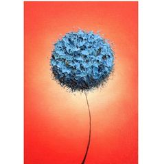 Abstract Blue Flower Print Blue Floral Art Photo Print by BingArt