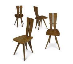 Carlo Mollino  Set of Four Oak Chairs, 1953