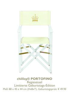 Regiestuhl PROTOFINO by chillisy®  weiß mit Krone Gold limited Edition www.chillisy-shop.eu Shops, Outdoor, Gold, Furniture, Home Decor, Self, Director's Chair, Armchair, Birthday