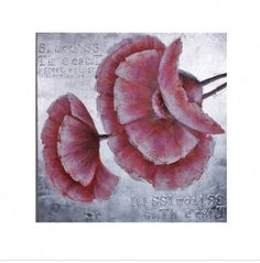 Dit mooie geschilderde doek MC Label met roze bloem en zilveren achtergond is een echte must-have! Je kan 'm recht op of liggend hangen.  Afmeting: 80x80cm